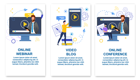Set Online Webinar, Video Blog, Online Conference. He is Conducting Online Training. Guy Writes Video Blog and Puts it to View Internet. Men Participate in Conference. Vector Illustration.