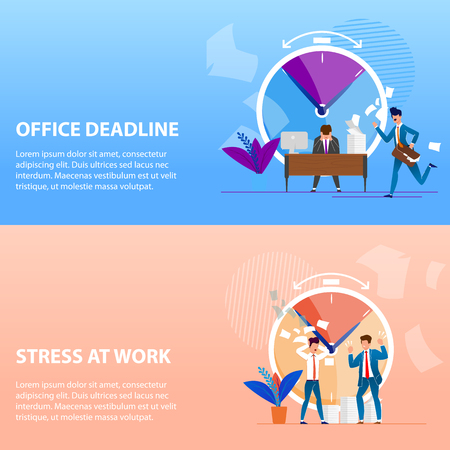 Set Is Written Office Deadlines and Stress at Work. Boss Exerts Psychological Pressure on Subordinate. Violation Deadlines for Implementation Project Causes Stress. Vector Illustration.