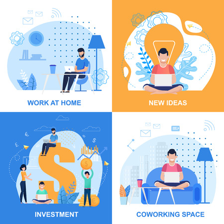 Work at Home, Investment, New Ideas and Coworking Space Set. People Using Laptop for Creation, Online Earnings, Increasing Internet Business Profit in Comfortable Workspace. Vector Flat Illustration 일러스트