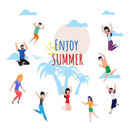 Enjoy Summer Wish Lettering Cartoon. Ad Flat Metaphor Banner. Invitation Poster with Happy Jumping People. Satisfied Male and Female Tourists. Summer Rest on Vacation. Vector Tropical Illustration