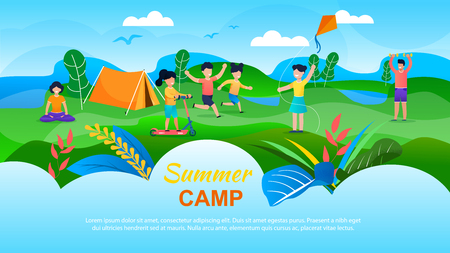 Summer Camp for Children Advertising Banner. Flat Cartoon Kids Playing with Kite, Scooting, Running on Valley. Man and Woman, Educators and Counselors Meditating, Doing Exercise. Vector Illustration