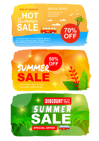 Flat Summer Sales Set with Best Seasonal Offers. Printable Banner Templates. Commercial Advertisements Pack. Shopping Tour Flyers Kit. Vector Cartoon Illustration in Color Tropical Style