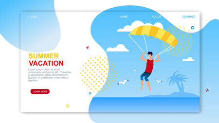 Summer Vacation Landing Page with Advertising Text. Man Parasailing with Parachute over Tropical Beach and Sea. Unforgettable Experience. Active and adventure holiday idea. Vector Flat Illustration Illustration