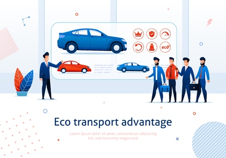 Eco Transport Advantage. Salesman Presentation to Cartoon People Electric Car Benefit Vector Illustration. Ecological Automobile Environment Protection. Money Savings Financial Economy