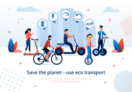 Save Planet Use Eco Transport Vector Illustration. Man Ride Electric Bike Bicycle . Woman Ride Electro Scooter Monocycle Unicycle. Ecological Vehicle Advantage. Green Choice Benefit