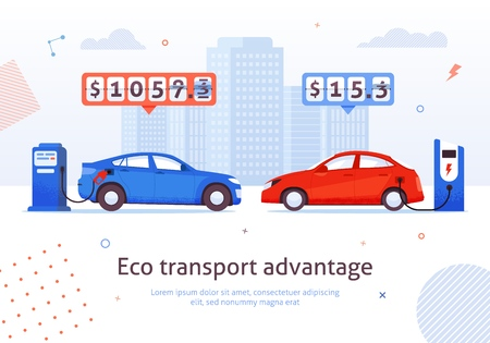 Eco Transport Advantage. Petrol Auto Versus Electric Car Vector Illustration. Financial Economy Money Savings. Electric Charging Station Vs Gasoline. Alternative Ecological Transport