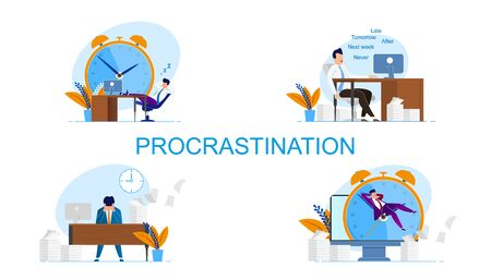 Illustration Inscription Set Procrastination. Man Feels Guilty because Deadlines. Vector Worker does not Convince Himself Urgency Performing Necessary Tasks Cartoon Flat. Man Sitting at Table. Banque d'images - 124689305