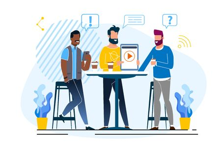 Office Situation Discussion Vector Illustration. Video Presentation in an Informal Setting. Creative Managers Meet with Customer in Cafe. Men Discuss Business Matters During Lunch.