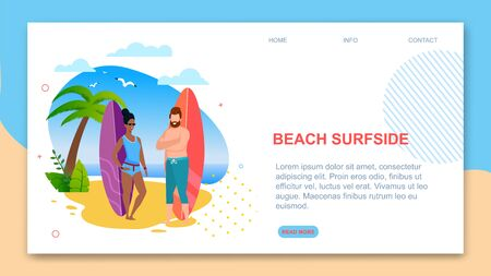 Landing Page Template Presents Beach Surfside. Cartoon Multiracial Team Ready to Surf on Ocean Waves. Flat Vector Caucasian Man and Afro American Woman with Surfboard Illustration. Travel Agency Offer 写真素材 - 124689306