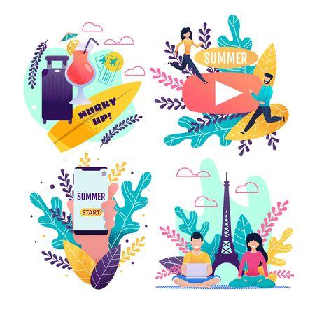 Tarjeta de invitación. Viajar por el mundo. Juego de viaje tropical. Kit de pancartas de felicitación con accesorios de viaje, cóctel, aplicación móvil, dibujos animados corriendo y personas descansando. Vector ilustración plana