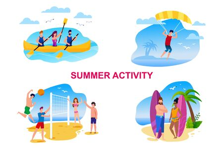 Summer Activity Cartoon Set with Resting People. Tourists Rowing, Parasailing, Playing Beach Volleyball, Ready to Catch Wave on Surfboard. Vector Flat Illustration. Vacation on Tropical Island Illustration
