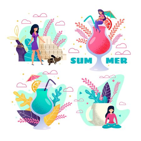 Summer Vacation and Rest Invitation Cards. Cocktail Party Vector Set. Summertime and Meditating. Travelling and Walking Outside. Exciting Events on Tropical Island. Resting Cartoon People Illustration