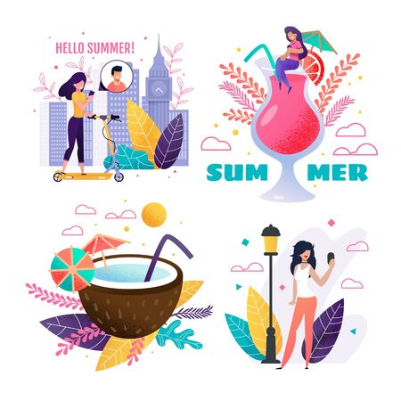 Summer Rest in City, Travelling and Vacation Set. Cartoon Happy People Enjoy Summertime and Sharing Impressions and Best Memories via Smartphone and Social Stories. Vector Flat Illustration