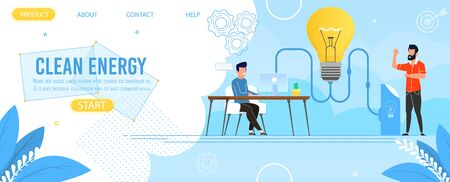 Landing Page Advertising Clean Energy Production. Cartoon Men Characters Working at Office. Big Light Bulb Connected to Power Station. People Researching and Brainstorming. Vector Flat Illustration