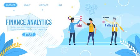 Finance Analytics Design Landing Page Template. Male Analysts Team Perform Digital Marketing Research Using Modern Computer Technology. Investment, Statistic Budget Audit. Vector Flat Illustration