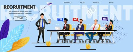 Recruitment. Staff Meeting. Landing Page Template. Flat Employees, Management Company, Men Business Suits Choose Candidate New Position, Job. Website, Web Banner, Vector Illustration