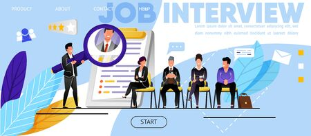 Job Interview, Recruitment. Website, Landing Page. Candidates, Men, Women Waiting Job Interview. Head Hunter, Employment Specialist Analyzing CV Job Applicants. Web Banner, Vector Flat Illustration