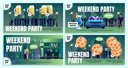 City Bar, Beer Pub or Nightclub Weekend Party Flat Vector Advertising Banner, Poster or Flyer Template Set with People Going, Driving to Nightclub with Special Offer on Alcohol and Food Illustration Illustration