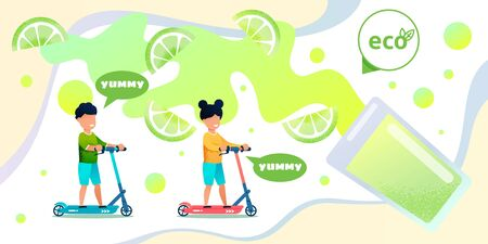 Ecological products, organic juice or baby food flat vector banner with happy smiling childrens, preschooler boy and girl riding scooter on lime slices, lemon juice splashing in glass illustration