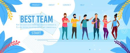 Best Team Character Landing Page Presentation. Cartoon Office Multiracial Male and Female Employees Working Together. Vector Casual Coworking Freelancers Illustration. Cheerful Smiling Men and Women Ilustrace