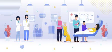 Family in Hospital, Newborn Baby Girl, Flat Vector. Hospital Room. Doctor, Nurse, Happy Smile Family, Relatives Visits, Congratulate Woman after Birth Baby Girl. Illustration in Cartoon Style