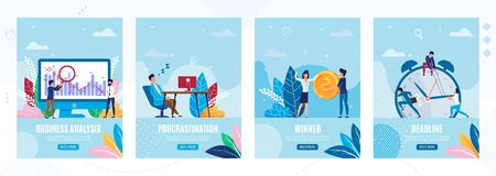 Mobile Landing Pages Set for Business Startup. Planning Strategy and Effective Time Management, Analyzing Profit and Ways to Goals. Deadline and Procrastination. Vector Flat Illustration Ilustrace