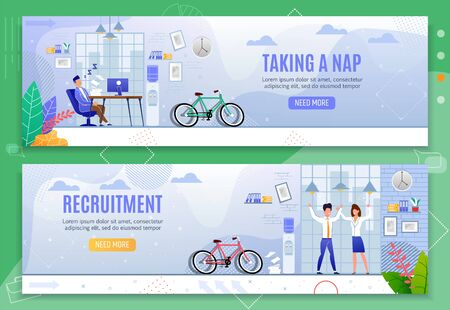 Taking Nap and Recruitment Header Banners Set. Male Clerk Asleep at Desk in Coworking Office Procrastinating Working Time. Happy Man and Woman Rejoice New Job after Hiring. Vector Flat Illustration Ilustrace