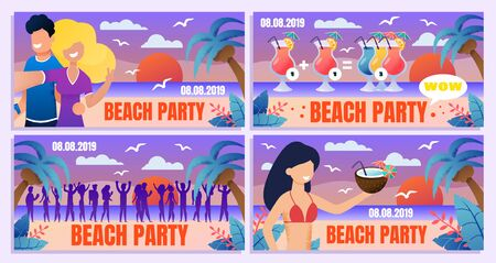 Tropical Resort, Cocktail Bar, Holiday Beach Party Flat Vector Advertising Banners, Posters or Greeting Card Templates Set with Couple in Love, Guests Crowd, Woman in Bikini on Seashore Illustration