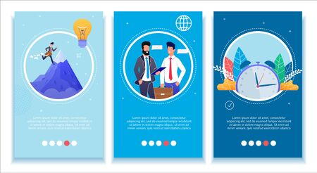 Business Development Mobile Banners Set. Social Media Network Stories Kit. Goal Achievement, Partnership and Negotiations, Effective Time Management Theme. Vector Office People Flat Illustration Ilustracja