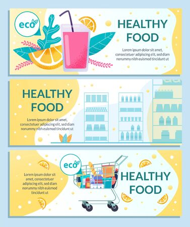 Healthy Food Grocery Store or Supermarket Eco Products Section Horizontal Flat Vector Banners, Posters Set with Shopping Trolley and Racks Full of Goods, Glass of Juice and Orange Slice Illustration