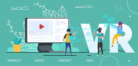VR Technology User Interface Flat Landing Page. Virtual Augmented Reality. Lady and Man Use Headset Glasses. Video Marketing and Strategic Partnership. Vector Huge Computer Monitor People Illustration