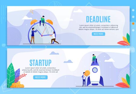 Business Header Banners Set. Deadline and Startup. Time Management, Planning and Strategy Generation. Office Team and Alarm Clock. Freelancers, Lightbulb and Rocket. Vector Flat Illustration Ilustrace