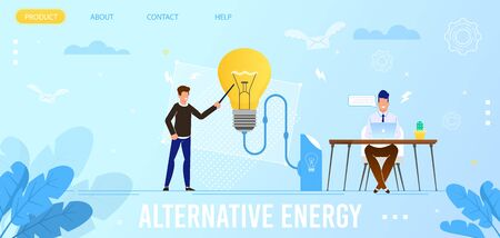 Alternative Energy Flat Landing Page. Homepage Mockup with Cartoon Men Characters Brainstorming and Studding Eco Friendly Technologies for Electricity Production. Vector Ecology Sources Illustration
