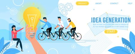 Business Team and Idea Generation Landing Page. Brainstorming and Teamwork. Leadership and Development. Cartoon Men Characters Cycling. Woman Pointing on Huge Lightbulb. Vector Flat Illustration