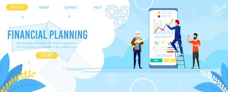 Landing Page Advertise Financial Planning Mobile App. Cartoon Business Team Use Digital Device and Application for Finance Data Analysis. Increase Corporate Result. Vector Flat Illustration Ilustrace