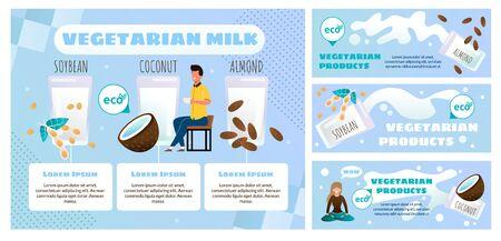 Magasin en ligne de produits alimentaires végétariens ou bannière publicitaire vectorielle à plat, ensemble d'affiches promotionnelles. Homme buvant une tasse de café ou de café au lait avec illustration végétarienne d'amande, de soja et de lait de coco