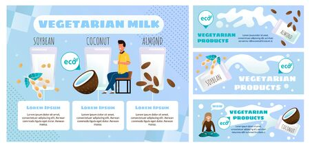 Vegetarian Food Products Online Store or Shop Flat Vector Advertising Banner, Promo Posters Set. Man Drinking Cup of Coffee or Latte with Vegetarian Almond, Soybean and Coconut Milk Illustration