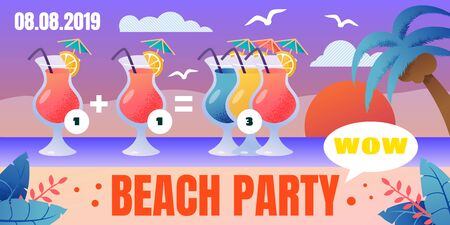 Tropical Resort Cocktail Bar Beach Party, Special Price Offer for Alcohol Drinks Flat Vector Ad Banner, Poster or Flyer Template. Cocktail Glasses with Straw and Umbrella on Seacoast Illustration