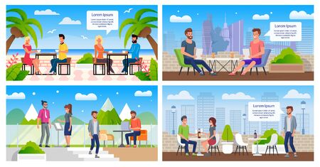 City Street Cafe with Rooftop Terrace, Resort Restaurant with Outdoor Seating Flat Vector Banners, Posters Templates Set with Happy Couples, Work Colleagues, Visitors Resting in Cafeteria Illustration