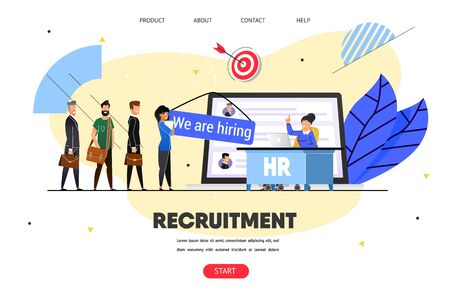 Hr, Recruitment Agency. Web Banner, Landing Page. Woman, Head Hunter Manager Reading Job Applicants CV. Guys, Girl Searching Job Opportunities. Job Interview, Presentation. Flat Vector, Website Ilustrace