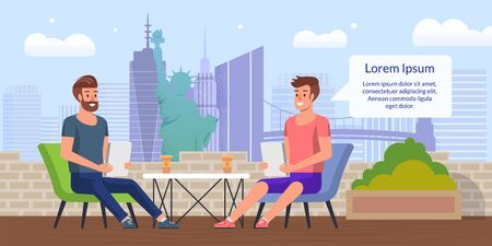 City Street Cafe, Restaurant or Coffee Shop with Outdoor Seatings on Rooftop Terrace Flat Vector Banner, Poster Template. Two Freelancers, Businessmen, Work Colleagues Lunching Together Illustration