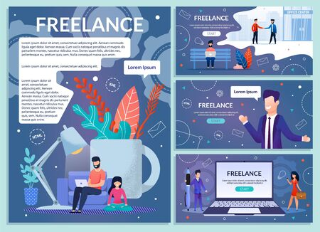 Business Startup for Freelancers, Online Service for Programmers, Web Developers Distant Work Web Banners, Landing Pages Set with Successful Businessmen, Entrepreneurs Working on Laptop Illustration