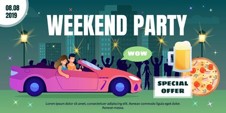 Spacial Offer on Drinks and Food for Weekend Party in Bar, Pub or Nightclub Flat Vector Advertising Banner, Poster Template. Happy Smiling Couple Going in Cabriolet on Night City Street Illustration