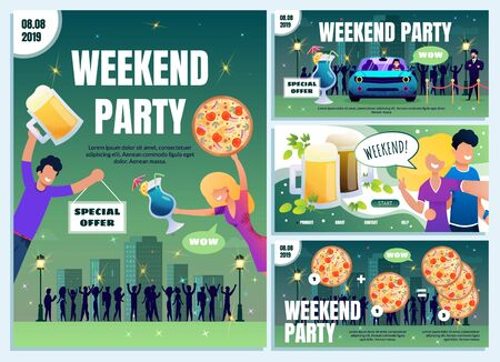 City Beer Pub, Bar, Pizzeria and Nightclub Weekend Special Offer on Food and Alcohol Flat Vector Web Banner, Advertising Poster, Flyer Template Set with Happy People Having Fun on Party Illustration