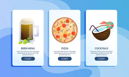 Modern Cafe, Bar or Restaurant Food and Alcohol Drinks Menu Vertical Web Banners, Mobile Phone Applications Landing Pages Templates Collection with Beer Pint, Pizza and Coconut Cocktails Illustrations