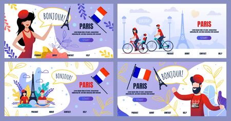 Flat Landing Page Set Advertising Voyage to Paris. Cartoon Male and Female Tourists Characters, Cultural Attractions and National Flag. Bike Trip. Booking Online Vector Illustration. Leaves Design Ilustrace