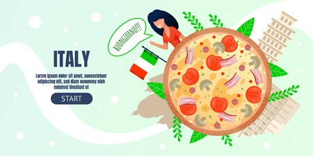 Banner Template Advertising Culinary Tour to Italy. Landing Page Offering Italian Travel. Cartoon Woman Tourist Character, Big Round Pizza and Famous LandMarks. Vector Flat Illustration