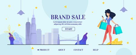 Landing Page Banner Layout Design Advertising Brand Sale Online. Internet Shopping. Market Special Offer Discount. Vector Cartoon Elegant Woman with Paper Bags Filled Purchases. Cityscape Illustration Ilustrace