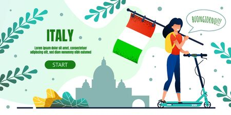 Landing Page Offer Eco Transport Trip to Italy. Smiling Cartoon Woman Character Rides Electric Scooter Holding National Italian Flag in Hand. Vector Advertising Banner. Landmark Illustration on Scene Ilustrace