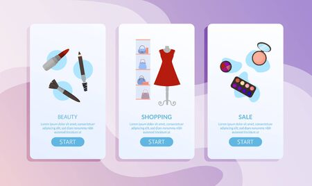 Feminine Beauty Accessories, Cosmetics and Clothes Sale Page Set. Mobile Application for Online Shop. Social Network Advertising Banner with Promo Text and Start Button. Vector Flat Illustration